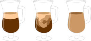 Diffusion of cream into coffee.